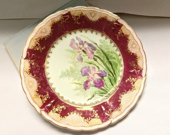 Vintage Bavarian Bread & Butter Plate with Iris Floral Pattern / Antique German China