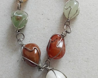 VINTAGE silver plated chain with colored agate stones , classical style 1960