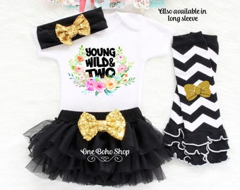 2nd Birthday Outfit Girl, Second Birthday Outfit Girl, Girl Second Birthday, Young Wild & Two Birthday Shirt, Second Birthday Tutu SB2B