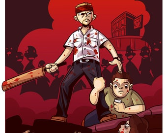 """Shaun of the Dead Illustration, Movie Poster, Original Art, Comedy, Zombies, Horror,  """"8x10"""""""" - """"12x16"""""""