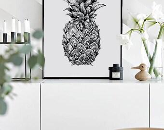 Pineapple Print - Scandinavian Poster, Nursery Wall Art Black White Pineapple. Kids Room Print. Affiche Scandinave. 50x70 cm