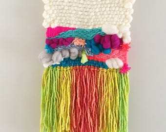Weaving // Woven Wall Hanging // Home Decor // Neon Rainbow Tapestry
