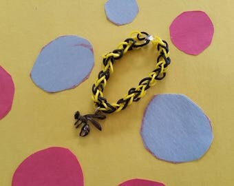 Yellow Jacket Charm Rubber Band Bracelet, Yellow & Black