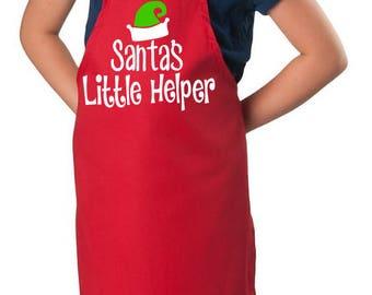 Kid's Christmas Apron / Santa's Helper Apron / Santa's little Helper / Children's Chrismas Apron