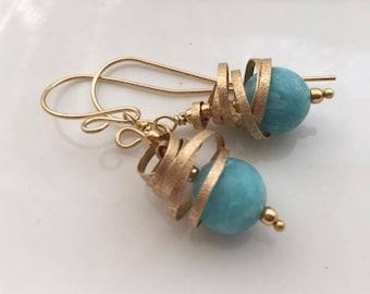 Blue calcite pendant earrings