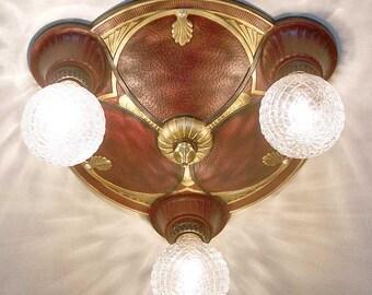 903 20's 30s  aRT NOUVEAU Ceiling Lamp Light  POLYCHOME  1 0f 6