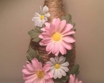 Wine Bottle Decor Accent Piece w/ Flowers