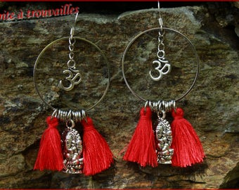 """Harmony"" Ganesh and Ohm earrings"
