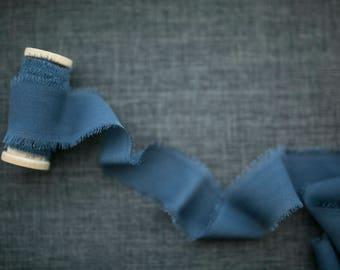 Steel Blue Silk Ribbon;  100% Silk; Wedding bridal bouquet, invitations, wedding favors, wedding photography styling