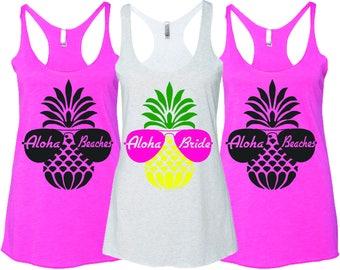 Aloha Bride Tank Tops, Aloha Beaches Tanks, Bachelorette Party
