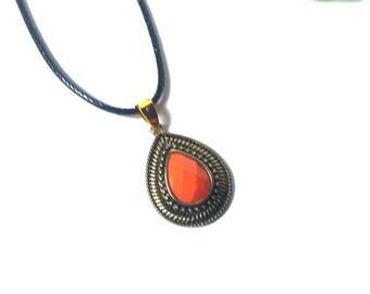 Necklace Orange Pendant - Leather Necklace - Necklace for Women - Colorful Necklace - Fashion Necklace - Minimalistic Necklace - Gift