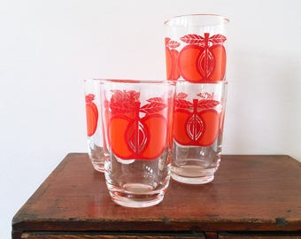 Vintage Retro apple glasses - drinking glasses - orange and red - 1970s - set of 4