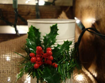 Christmas inspired tin can with garland and holly