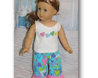 "American Girl Doll not included. Valentine  Sweetheart Love Pajamas  18"" dolls. Clothes only. Toy doll clothes for 18"" tall Dolls."