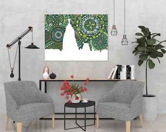 Rio de Janeiro, Skyline, Brazil, Poster, Print, Art, Zentangle, Doodle, Digital Illustration, Home Decore, City, Gift, Green, Silhouette