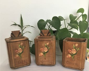 Vintage set of spice jars from 1920s wooden art deco
