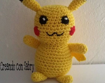 Handmade Crochet amigurumi Snowman Pikachu///