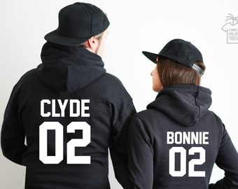 Couples hoodie bonnie and clyde hoodies couples hoodies bonnie and clyde sweatshirts anniversary gift couples sweatshirts couples hoodies