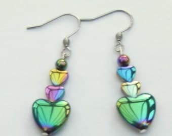 Rainbow haematite heart earrings