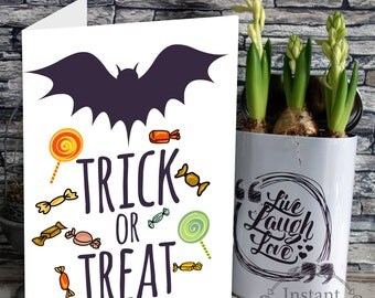 Halloween card, Trick or Treat, Printable Card, Instant download, Seasonal