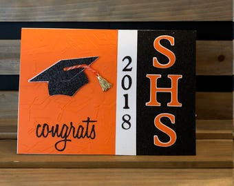 Customizable Graduation Card, Choose your school colors, Year and School Initials