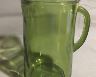 """Vintage 10"""" High Green Glass Vaseline Pitcher 1950s"""