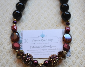 MultiColor Red/Gold/Black Beads and Black Onyx 'Festival' Necklace