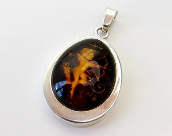 Amazing 6.65 grams Hand made 925 Sterling Silver Pendant with Dark cognac Natural Genuine BALTIC AMBER engraved ANGEL