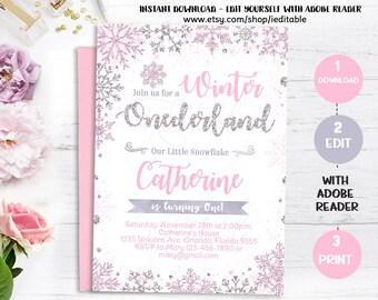 Winter Onederland Birthday Invitation Pink and Silver, Snowflake invite, Winter wonderland, Instant download, Girl Onederland, 1st Winter 5