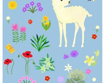 Little lamb and flowers 8 x 10 print - nursery art, kids print, children and baby
