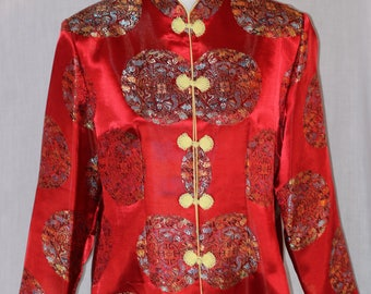 Vintage JIN LAN Fashion Red Chinese Cheongsam Qipao Dragon Phoenix Embroidered Long Sleeve Jacket Size XXL