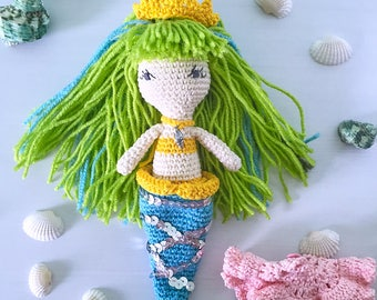 Crochet mermaid princess, amigurumi mermaid doll, plush mermaid toy