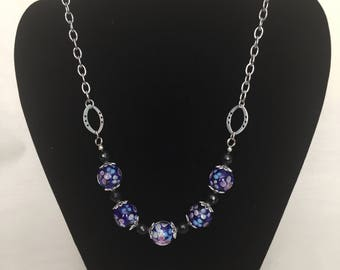 Blue Lampworked Bead and Chain Necklace