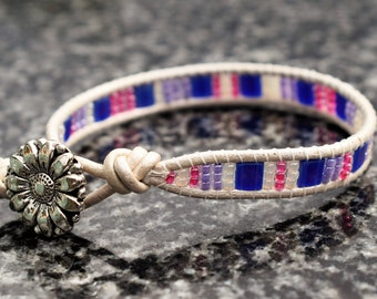 Single leather beaded wrap bracelet