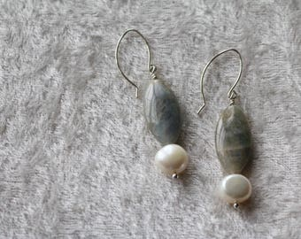 Labradorite and Freshwater Pearl Sterling Silver Earrings