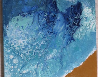 Along the beach – Fluid acrylic abstract painting
