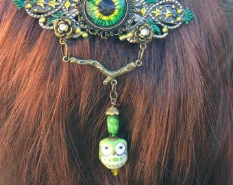 Hair Barrette-Green Owl's Eye