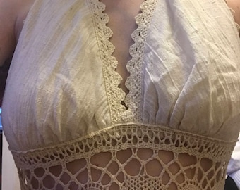 Vintage 1970s Gunne Sax linen and lace wedding dress halter size small