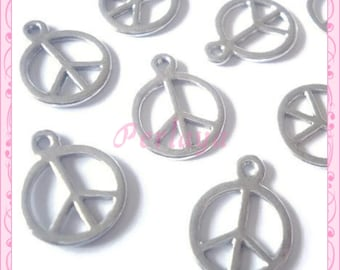 Set of 20 REF677X4 silver Peace charms