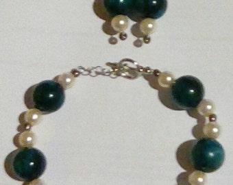Beaded Wire Bracelet & Earring Set