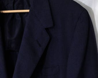 "80's Men's 46 Navy Oxxford Clothes for Neiman Marcus Textured ""Super 100's"" Sport Coat"