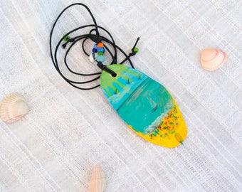 Ocean beach paint Seascape Pendant Ethnic boho painted wood slice artisan wood jewelry miniature painting Sea colors Necklace romantic gift
