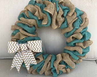 Teal Burlap Wreath, Fall wreath