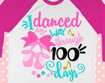 100 days svg - 100th day of school - School svg - Dance svg - 100 days shirt - Ballerina svg - SVG for girls - svg, png, pdf, exp, dxf