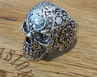 20% DISCOUNT CODE Sugar Skull ring size 10 blossom, day of the dead