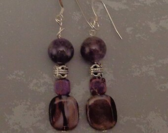 Purple and Silver Boho Earrings