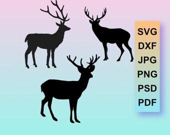 Deer svg, Deer dxf, Deer Clipart, Boho Deer, Svg, Dxf, Cut File, Cricut, Silhouette, Die Cut, Design Elements, Die Cut, Cutting Files, Iron