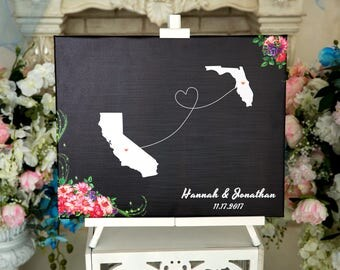 Wedding Guest Book Alternative Two State Guest book Canvas Wedding Guestbook Personalized Wedding map sign STATE WEDDING Guestbook wedding