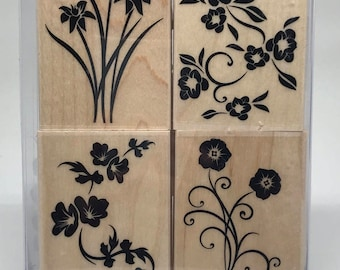 Destash Hero Arts Solid Flower Flourish Wood Mounted Rubber Stamp Set * BRAND NEW * Set of 4