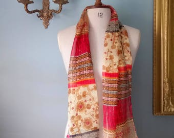 Orange and Red Printed Scarf with Golden Thread